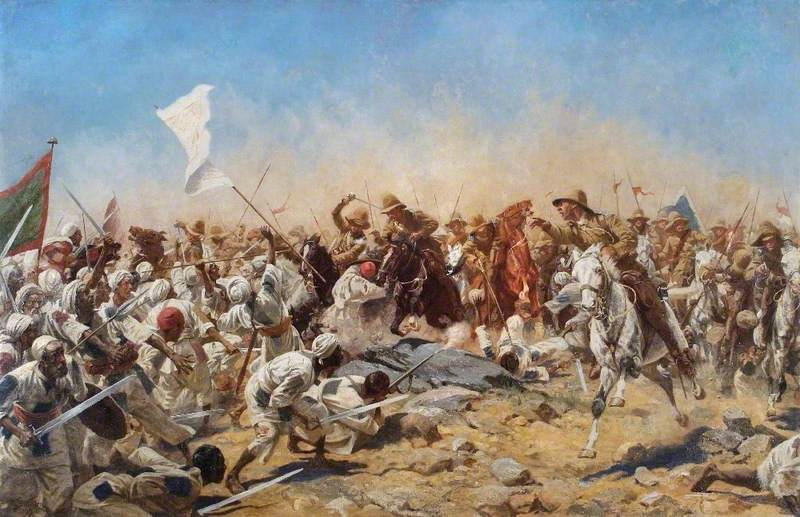 Wollen, William Barns; The 21st Lancers at Omdurman, Sudan; Defence Academy of the United Kingdom; http://www.artuk.org/artworks/the-21st-lancers-at-omdurman-sudan-42805