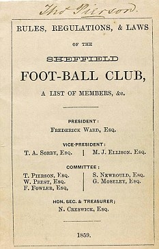 epa02821759 An undated handout image provided by Sotheby's on 13 July in London, Britain, shows the only known surviving copy of the printed Rules, Regulations, and Laws of the Sheffield Foot-Ball Club (1859). These are the earliest rules of club football. The handbook will go under the hammer at Sotheby's sale of the archives of Sheffield FC, the world's oldest football club (established 1857), on 14 July and it is expected to fetch between 906,000 and 1,360,000 Euro. EPA/SOTHEBYS / HANDOUT ONE TIME USE ONLY IN CONNECTION WITH THE PREVIEW OF REVIEW OF THE RELEVANT SALE, MANDATORY CREDIT HANDOUT EDITORIAL USE ONLY/NO SALES/NO ARCHIVES
