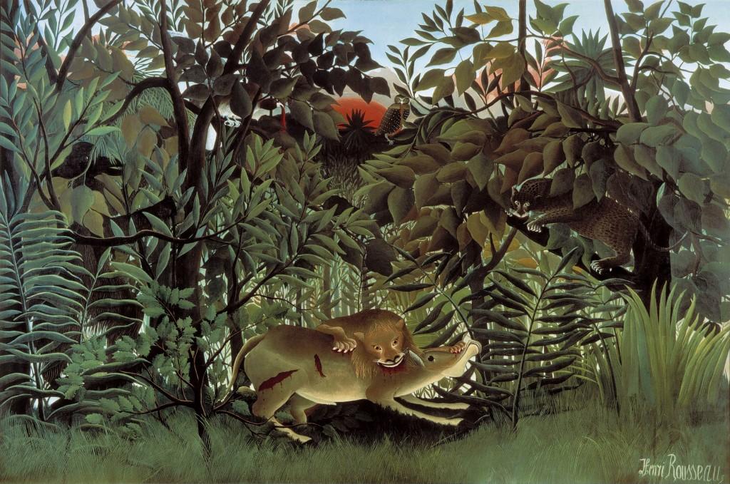 Henri Rousseau, Le lion ayant faim se jette sur l'antilope, 1905