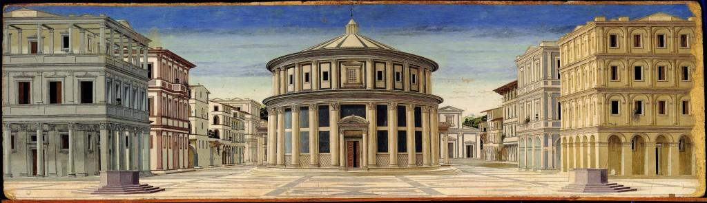 Artista sconosciuto, Città ideale, 1480-1490. Urbino, Galleria Nazionale delle Marche