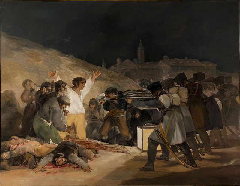 Francisco de Goya y Lucientes, El tres de mayo en Madrid, 1813-14. Madrid, Museo del Prado