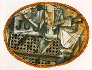 Pablo Picasso, Natura morta con sedia impagliata, 1912. Parigi, Musée Picasso
