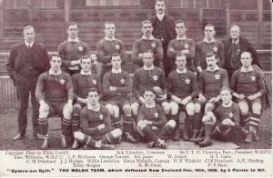 Il Galles che sconfisse 3 a 0 la Nuova Zelanda il 16 dicembre 1905