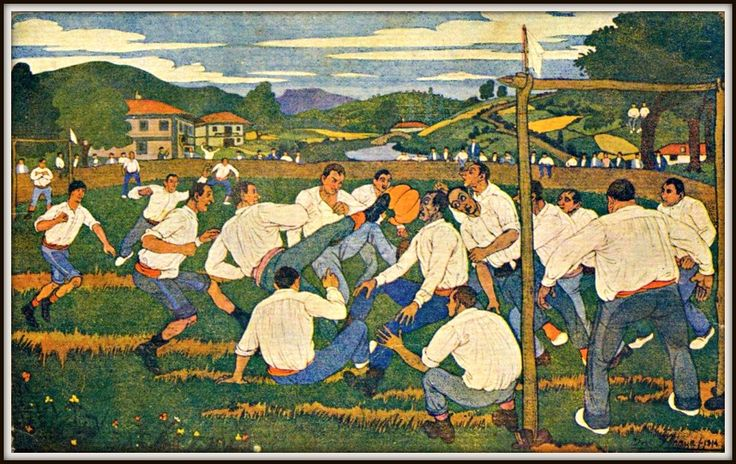 José Arrúe, Escena de fútbol basco, 1914.