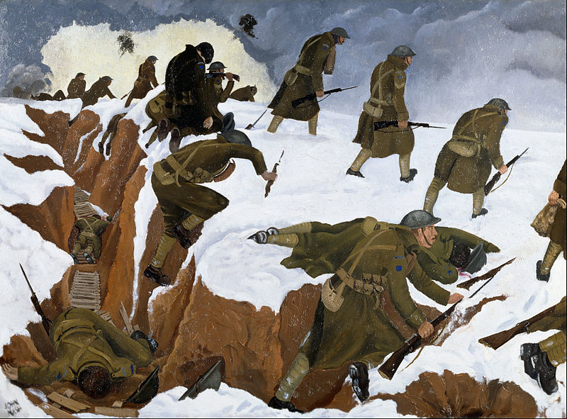 john-nash-ra-over-the-top-1st-artists-rifles-at-marcoing-30th-december-1917-1918-londra-imperial-war-museum
